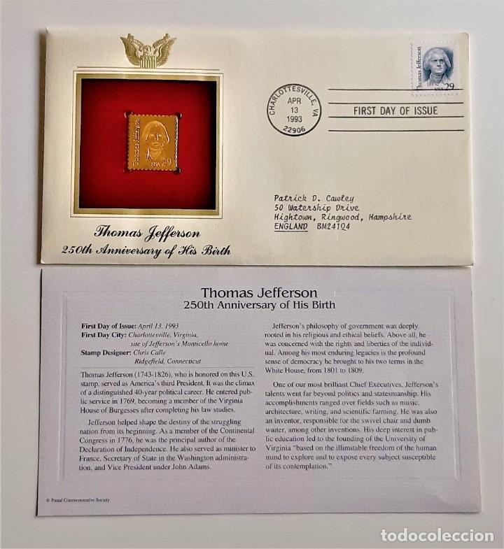 Sellos: SELLO DE ORO 22.KT. THOMAS JEFFERSON 250TH ANNIVERSARY OF HIS BIRTH 1993 - 22 X 25.MM - Foto 2 - 221511037