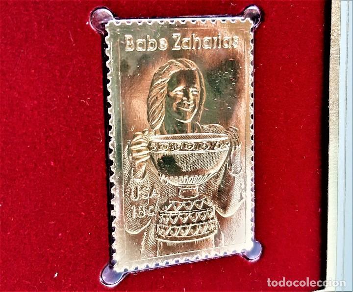 SELLO DE ORO 22.KT. BABE ZAHARIAS AMERICAN ATHLETE 1981 - 40 X 25.MM (Filatelia - Sellos - Reproducciones)