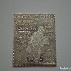 Sellos: SELLO PLATA CORREOS ESPAÑA 0,26 EUROS. DIARIO DE CADIZ 1867 – 2003. 30 X 24 MM, 7GR (AG 925). Lote 222139900