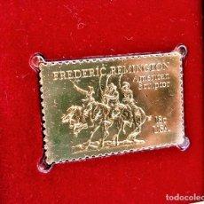 Sellos: SELLO DE ORO 22.KT. FREDERIC REMINGON AMERICAN SCULPTOR 1981 - 40 X 25.MM. Lote 222178875