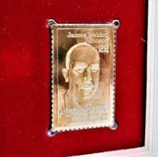Sellos: SELLO DE ORO 22.KT. JAMES WELDON JOHNSON BLACK HERITAGE SERIES 1988 - 40 X 25.MM. Lote 222504552