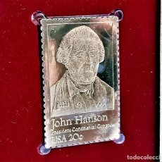 Sellos: SELLO DE ORO 22.KT. JOHN HANSON PRESIDENT, CONTINENTAL CONGRESS 1981 - 40 X 25.MM. Lote 222601298
