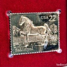 Sellos: SELLO DE ORO 22.KT. AMERICAN HORSES SADDLEBRED 1985 - 40 X 30.MM. Lote 237357240