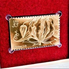 Timbres: SELLO DE ORO 22.KT. TROPICAL FLOWERS GLORIOSA LILY 1999 - 40 X 25.MM. Lote 224927858