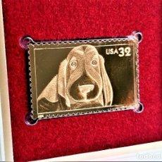 Sellos: SELLO DE ORO 22.KT. BRIGHT EYES DOG 1998 - 40 X 25.MM. Lote 237358850