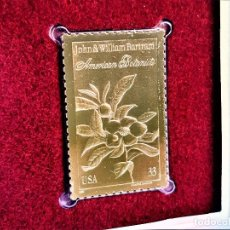 Francobolli: SELLO DE ORO 22.KT. JOHN AND WILLIAM BARTRAM AMERICAN BOTANISTS 1999 - 40 X 25.MM. Lote 240228760
