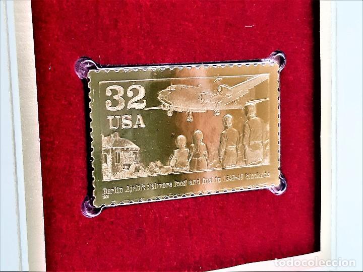 SELLO DE ORO 22.KT. BERLIN AIRLIFT 50TH ANNIVERSARY 1998 - 40 X 25.MM (Filatelia - Sellos - Reproducciones)