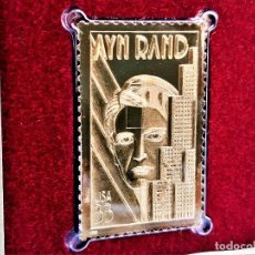 Timbres: SELLO DE ORO 22.KT. AYN RAND LETERARY ARTS SERIES 1999 - 40 X 25.MM. Lote 225034285