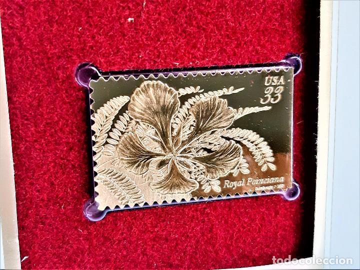 SELLO DE ORO 22.KT. TROPICAL FLOWERS ROYAL POINCIANA 1999 - 40 X 25.MM (Filatelia - Sellos - Reproducciones)