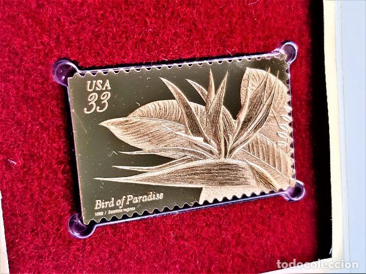 SELLO DE ORO 22.KT. TROPICAL FLOWERS BIRD OF PARADISE 1999 - 40 X 25.MM (Filatelia - Sellos - Reproducciones)