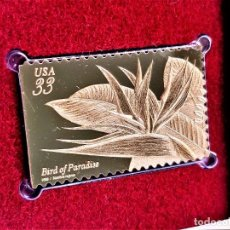 Francobolli: SELLO DE ORO 22.KT. TROPICAL FLOWERS BIRD OF PARADISE 1999 - 40 X 25.MM. Lote 225164250