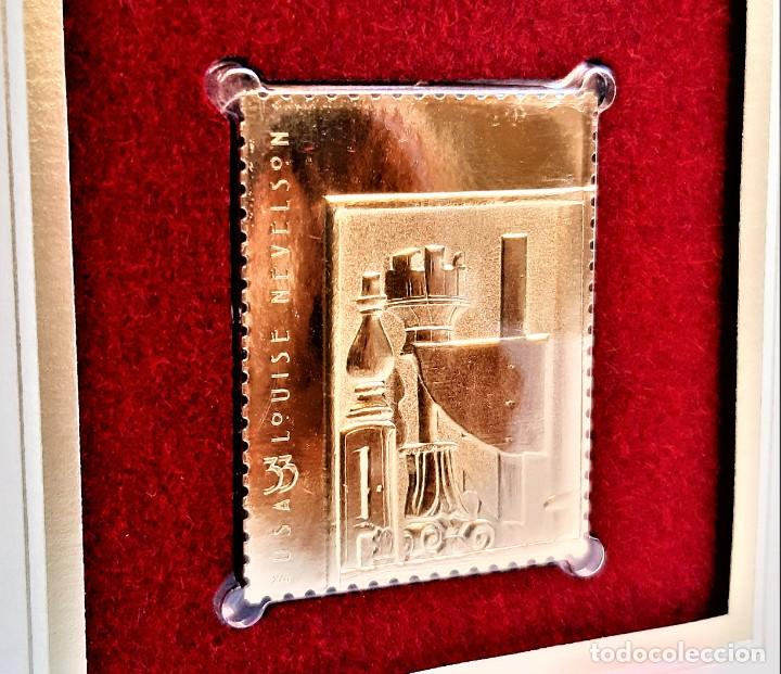 SELLO DE ORO 22.KT. LOUISE NEVELSON BLACK CHORD 2000 - 40 X 31.MM (Filatelia - Sellos - Reproducciones)