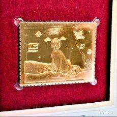 Francobolli: SELLO DE ORO 22.KT. STAMPIN THE FUTURE SPACE DOG 2000 - 40 X 31.MM. Lote 225590610