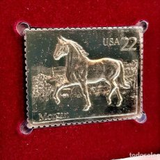 Timbres: SELLO DE ORO 22.KT. AMERICAN HORSES MORGAN 1985 - 40 X 30.MM. Lote 228815855