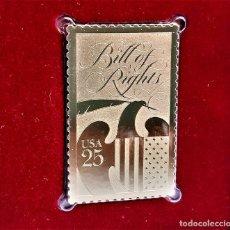 Timbres: SELLO DE ORO 22.KT. BILL OF RIGHTS 200TH ANNIVERSARY 1989 - 40 X 25.MM. Lote 229119995