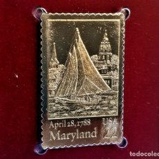 Timbres: SELLO DE ORO 22.KT. MARYLAND STATEHOOD 200TH ANNIVERSARY 1988 - 40 X 25.MM. Lote 229623185