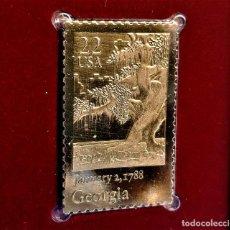 Timbres: SELLO DE ORO 22.KT. GEORGIA STATEHOOD 200TH ANNIVERSARY 1988 - 40 X 25.MM. Lote 229769435