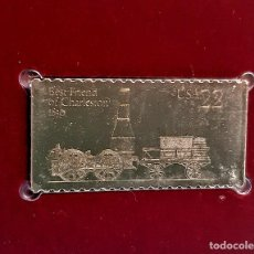 Timbres: SELLO DE ORO 22.KT. LOCOMOTIVES BEST FRIEND OF CHARLESTON 1987 - 40 X 25.MM. Lote 229908475