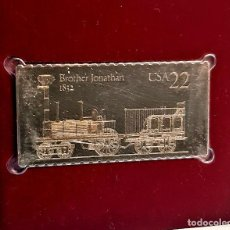 Timbres: SELLO DE ORO 22.KT. LOCOMOTIVES BROTHER JONATHAN 1987 - 40 X 25.MM. Lote 229908735