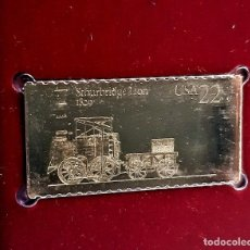 Timbres: SELLO DE ORO 22.KT. LOCOMOTIVES STOURBRIDGE LION 1987 - 40 X 25.MM. Lote 230090200
