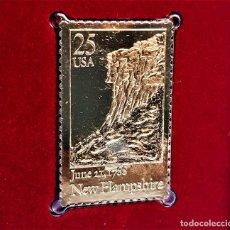 Timbres: SELLO DE ORO 22.KT. NEW HAMPSHIRE STATEHOOD 200TH ANNIVERSARY 1988 - 40 X 25.MM. Lote 231673665