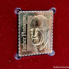 Timbres: SELLO DE ORO 22.KT. FATHER FLANAGAN FOUNDER OF BOYS TOWN 1986 - 25 X 22.MM. Lote 232013375
