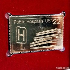 Timbres: SELLO DE ORO 22.KT. PUBLIC HOSPITALS SERVING THE AMERICAN PEOPLE 1986 - 40 X 25.MM. Lote 232013690
