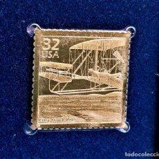 Timbres: SELLO DE ORO 22.KT. CELEBRATE THE CENTURY 1900-1909 KITTY HAWK 1998 - 31 X 31.MM. Lote 232227505
