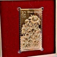 Timbres: SELLO DE ORO 22.KT. WINTER GARDEN FLOWERS WINTER ACONITE 1996 - 25 X 45.MM. Lote 232491235