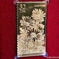 Timbres: SELLO DE ORO 22.KT. WINTER GARDEN FLOWERS ANEMONE 1996 - 25 X 45.MM. Lote 232894865