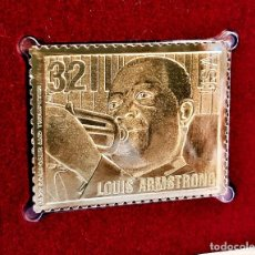 Timbres: SELLO DE ORO 22.KT. JAZZ MUSICIANS LOUIS ARMSTRONG 1995 - 40 X 31.MM. Lote 233034885