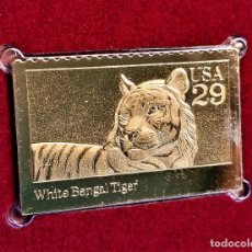 Sellos: SELLO DE ORO 22.KT. WILD ANIMALS WHITE BENGAL TIGER 1992 - 25 X 40.MM. Lote 235195310