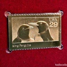 Sellos: SELLO DE ORO 22.KT. WILD ANIMALS KING PENGUINS 1992 - 25 X 40.MM. Lote 235195575