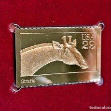 Sellos: SELLO DE ORO 22.KT. WILD ANIMALS GIRAFFE 1992 - 25 X 40.MM. Lote 235327870