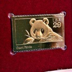 Sellos: SELLO DE ORO 22.KT. WILD ANIMALS GIANT PANDA 1992 - 25 X 40.MM. Lote 235842330