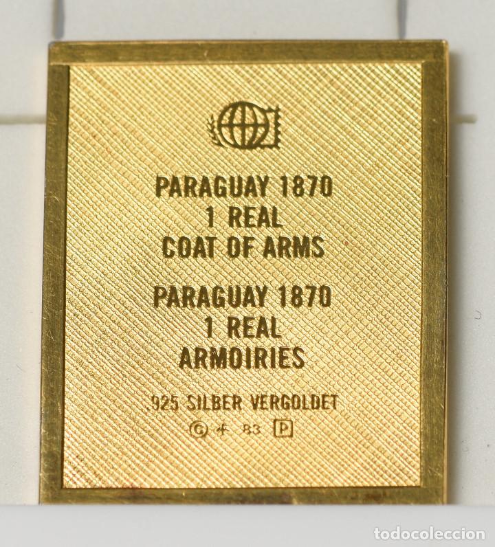 Sellos: Sello reproducción - 1 Real de la República de Paraguay (1870) de plata 925 bañado en oro - Foto 2 - 236897865