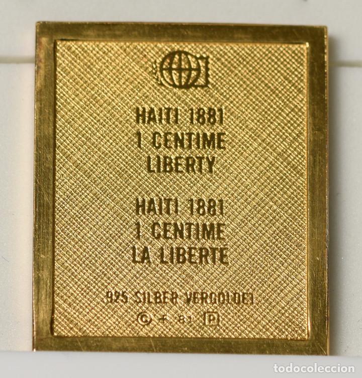 Sellos: Sello reproducción - 1 céntimo de la República de Haiti (1881) de plata 925 bañado en oro - Foto 2 - 236898410