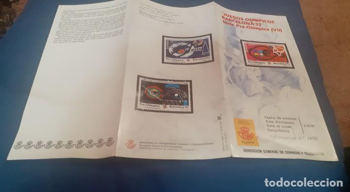 TRIPTICO DE LA DIRECCION DE CORREOS Y TELEGRAFOS DE LA EMISION DE SELLOS PREOLIMPICOS (Filatelia - Sellos - Reproducciones)