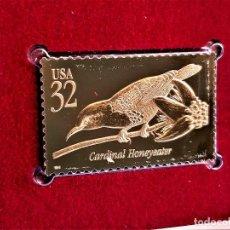 Selos: SELLO DE ORO 22.KT. TROPICAL BIRDS CARDINAL HONEYEATER 1998 - 40 X 25.MM. Lote 240229020