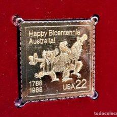 Selos: SELLO DE ORO 22.KT. AUSTRALIA BICENTENNIAL 1788-1988 - 31 X 31.MM. Lote 242343170