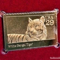 Sellos: SELLO DE ORO 22.KT. WILD ANIMALS WHITE BENGAL TIGER 1992 - 25 X 40.MM. Lote 243336645