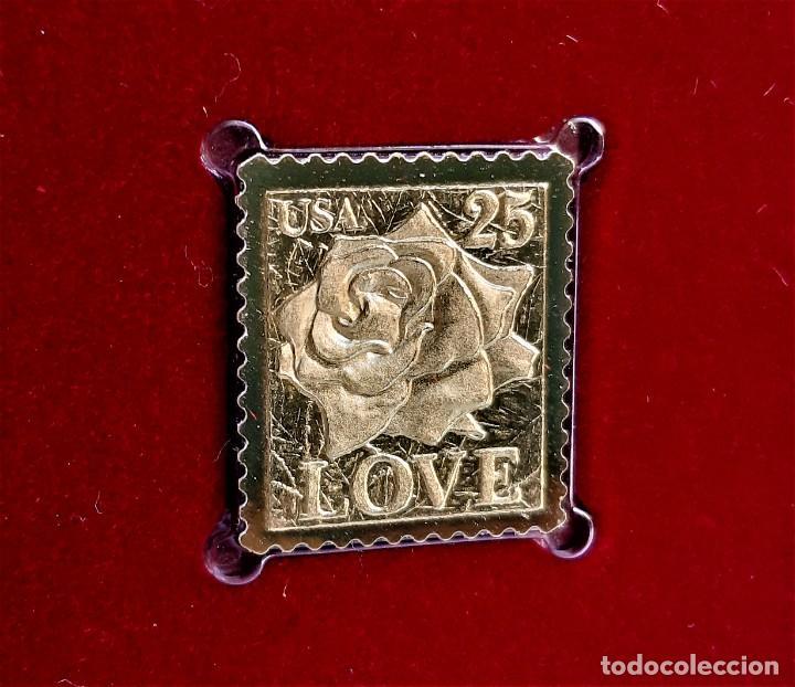 SELLO DE ORO 22.KT. LOVE AS PRECIOUS AS A ROSE 1988 - 25 X 23.MM (Filatelia - Sellos - Reproducciones)
