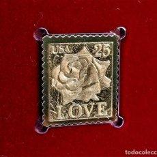 Francobolli: SELLO DE ORO 22.KT. LOVE AS PRECIOUS AS A ROSE 1988 - 25 X 23.MM. Lote 249552695