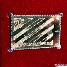 Francobolli: SELLO DE ORO 22.KT. NETHERLANDS RECOGNIZES THE U.S. 200TH ANNIVERSARY 1982 - 25 X 40.MM. Lote 253035915