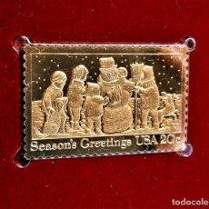 Selos: SELLO DE ORO 22.KT. CHRISTMAS 1982 BUILDING A SNOWMAN 1982 - 25 X 40.MM. Lote 253684475