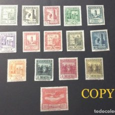 Francobolli: ESPAÑA-ANDORRA 1929 BAJO GOBERNACION ESPAÑOLA LOTE DE 16 VALORES- REPLICAS. Lote 257311385
