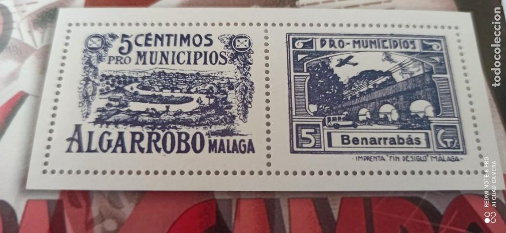 Sellos: SELLOS 5 CÉNTIMOS PRO MUNICIPIOS ALGARROBOS MALAGA - Foto 5 - 265502459