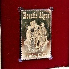 Selos: SELLO DE ORO 22.KT. HORATIO ALGER AMERICAN AUTHOR 1982 - 25 X 40.MM. Lote 268769249