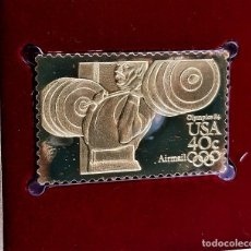 Selos: SELLO DE ORO 22.KT. SUMMER OLYMPIC GAMES WEIGHT LIFTING 1983 - 25 X 40.MM. Lote 268769384