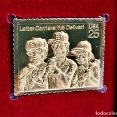 Francobolli: SELLO DE ORO 22.KT. LETTER CARRIERS WE DELIVER 1989 - 31 X 41.MM. Lote 273154818